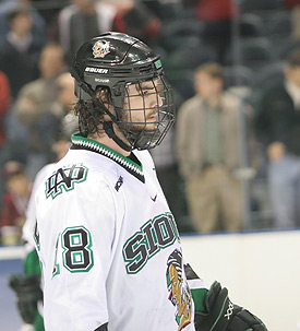 Drew Stafford could have played his last college hockey game Thursday. (photo: Neil Ament)