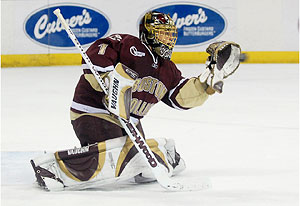 Cory Schneider helped lift BC to two wins over Wisconsin. (photo: John E. Van Barriger)