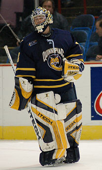 Quinnipiac goalie Bud Fisher had 23 saves for the shutout Friday against St. Lawrence. (photo: Brad Pettengill)