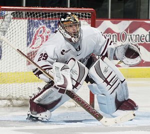 UMass goalie Jon Quick is off to a fast start this season. (photo: UMass Athletics)