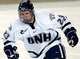 UNH sophomore Trevor Smith is leading Hockey East in scoring.