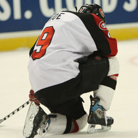 St. Cloud State's Garrett Roe was left frustrated, like the rest of his teammates. (photo: Karen Winger)