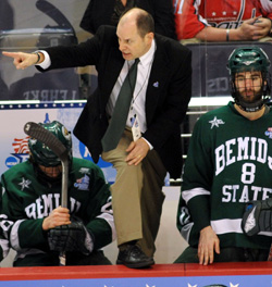 Bemidji State coach Tom Serratore couldn\'t find the right magic to extend his team in this one. (photos: Josh Gibney)