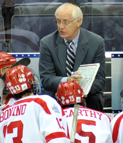 BU\'s Jack Parker, now in his 36th as head coach, with many others as an assistant and player, has called on the ghosts of Terriers past to push the team this season. (photo: Josh Gibney)