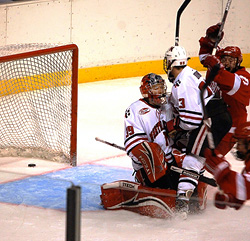 Evan Barlow scores the game winner with 17 seconds remaining in regulation. (photos: Mark H. Anbinder)