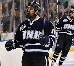 UNH forward Mike Sislo reacts to a goal. (photos: Josh Gibney)
