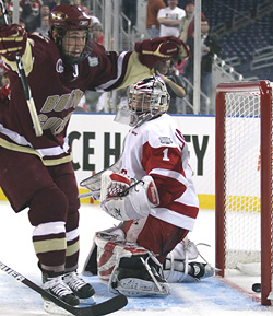Cam Atkinson, the nation's leading goal scorer last year, is back to lead BC. (photo: Neil Ament)