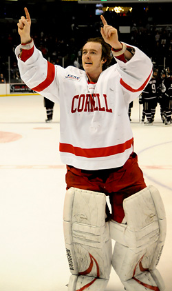 Ben Scrivens, a Hobey Baker Award finalist, has gone three straight games without allowing a goal. (photo: Brad Pettengill)