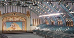 The interior of Boardwalk Hall, with its majestic ceiling and ornate back wall.