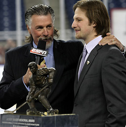 Geoffrion talks with ESPN\'s Barry Melrose. (photo: Joe Koshollek)