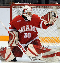 Cody Reichard is back between the pipes for Miami.