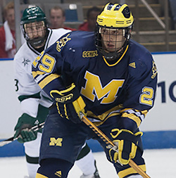 Louie Caporusso continued his torrid play to lead Michigan to Sunday\'s Regional Final. (photo: Karen Winger)