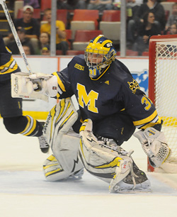Shawn Hunwick is 6-2 since becoming Michigan\'s starting goaltender. (photo: Ariel Bond)