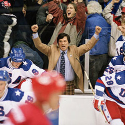 Kurt Russell as legendary coach Herb Brooks in the 2004 movie \'Miracle.\'