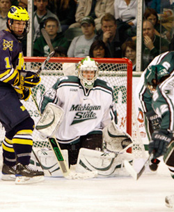 Michigan State goalie Drew Palmisano has been strong this year replacing the mighty Jeff Lerg. (photo: MSU Athletics/Brian Cripe)