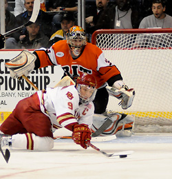 RIT goalie Jared DeMichiel stopped 39 shots to lead the Tigers past Denver. (photo: Brad Pettengill)