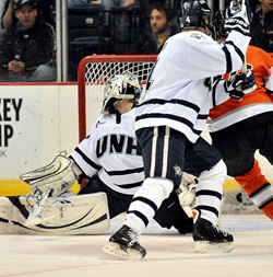 Brian Foster had a strong season for UNH, but a rough night against RIT on Saturday. (photo: Josh Gibney)