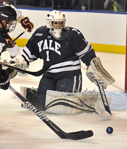 Things did not go as well for Ryan Rondeau in the Yale net against BC as it had Saturday against North Dakota. (photo: Dan Hickling)