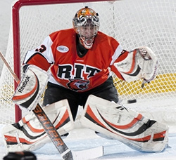 RIT senior Jared DiMichiel was the Atlantic Hockey Goaltender of the Month for February.