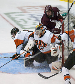 Senior Jared DeMichiel has stepped up as the undisputed No. 1 goaltender this season.