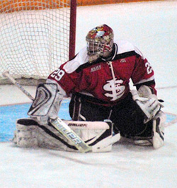 Kain Tisi has emerged as St. Lawrence\'s No. 1 goalie this season.
