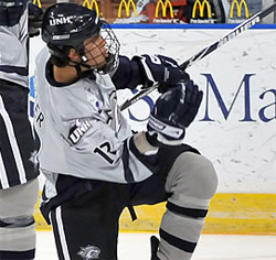 UNH forward Bobby Butler leads the nation with 27 goals.