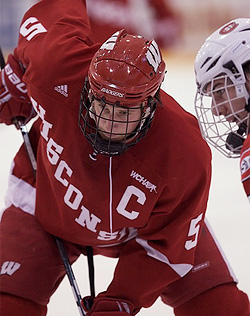 Wisconsin captain Blake Geoffrion is one of three Hobey finalists appearing in this Regional. (photo: Brad Olson)