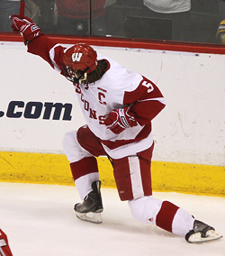 Blake Geoffrion scored and was named West Region Most Outstanding Player, as he led Wisconsin back to the Frozen Four. (photo: Ryan Coleman)