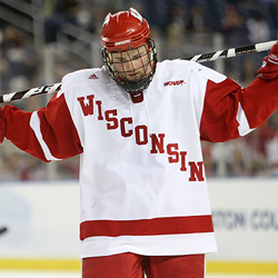 Wisconsin senior Michael Davies is frustrated after a breakaway chance was lost. (photo: Joe Koshollek)