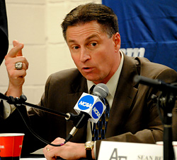 Air Force coach Frank Serratore makes his point. (photo: Adam Wodon)