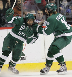 Bemidji State was 2-2 after two, before faltering in the third of Friday\'s WCHA semifinal. (photo: Ryan Coleman/d3photography.com)