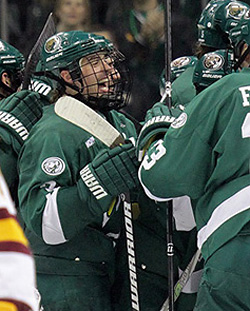 Bemidji State celebrates the game-winning OT goal. (photo: Ryan Coleman/d3photography.com)