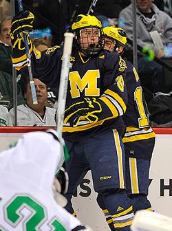 Ben Winnett reacts to scoring his first-period goal, which stood up as the game winner. (photo: Scott Pierson)