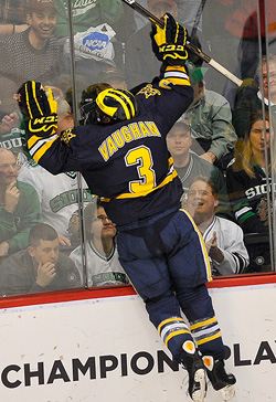 Michigan forward Scooter Vaughan celebrates his game-clinching empty-net goal. (photo: Scott Pierson)