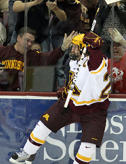 Jay Barriball celebrates one of his four goals last weekend against UMass. (photo: Ryan Coleman/d3photography.com)