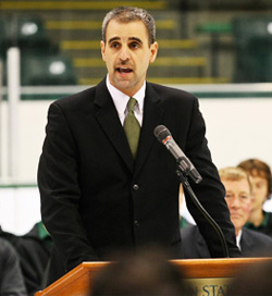 Tom Anastos addresses the media after being introduced as Michigan State's new coach. (photo: Michigan State athletics)