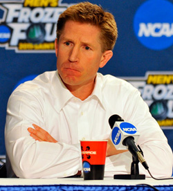 North Dakota coach Dave Hakstol: \'This one stings.\' (photo: Scott Pierson)