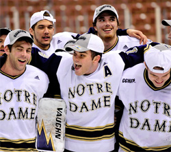 Notre Dame players sing the alma mater together after the Northeast Regional win. (photo: Josh Gibney)