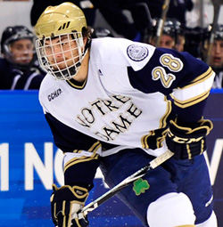 Stephen Johns, who scored the game\'s first goal Sunday, is another freshman that helped lead Notre Dame to the Frozen Four. (photo: Josh Gibney)