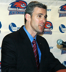 Norm Bazin is introduced as Lowell\'s new coach Thursday. (photo: Bob Ellis)