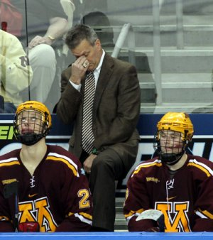 Head coach Don Lucia and the Minnesota Golden Gophers saw their season end at the Frozen Four, losing 6-1 to Boston College (Neil Ament)