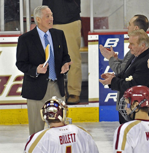Jerry York and BC hope to lift the Lamoriello Trophy for the third straight time this season. (photo: Walter Rossini)