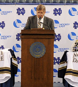 Hockey East commissioner Joe Bertagna introduces Notre Dame as the conference\'s 11th member during a news conference at Compton Arena. (photo: Mike Bennett/Lighthouse Imaging)