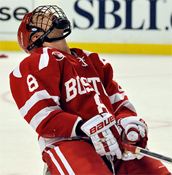 Ben Rosen reacts after BU allowed the winning goal with six seconds remaining in overtime. (photo: Dan Hickling)