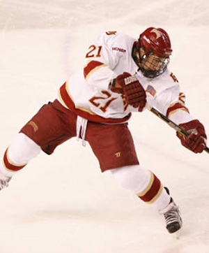 Denver defenseman Joey  LaLeggia was named Rookie of the Year in the WCHA.