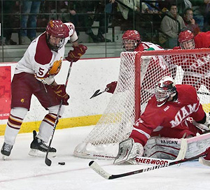 Aaron Schmidt (l.) is one of four senior defensemen in Ferris State\'s lineup.+ (photo: Scott Whitney)
