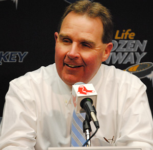 Northeastern coach Jim Madigan won two Beanpots as a player in the \'80s.