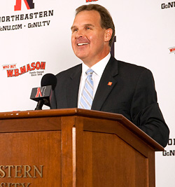Jim Madigan is introduced as Northeastern\'s 10th coach Tuesday. (photo: Mike Mazzanti, Northeastern)