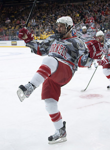 Greg Miller after scoring one of his two goals. Cornell wore special Wounded Warriors jerseys in the second period. They are currently being auctioned off for charity on CornellBigRed.com.