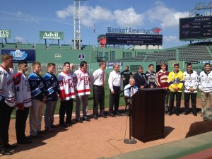 The captains of the eight Hockey East schools participating in Frozen Fenway at Friday\'s announcement. (photo: Brian Kelley)